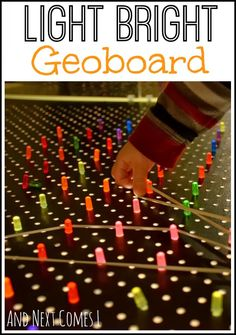 Light bright geoboard for fine motor fun. Could we put this board over our light bucket? Preschool Science, Teaching Activities, Sensory Activities, Activities For Kids, Preschool Centers, Preschool Projects, Science Art, Classroom Activities, Preschool Ideas