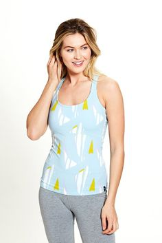 b63173d0951 Women s Kala Cami in Blue Boomerang Print by SATVA. GOTS organic certified  cotton and lycra blend. Yoga inspired cami with a slim fit and built-in bra.