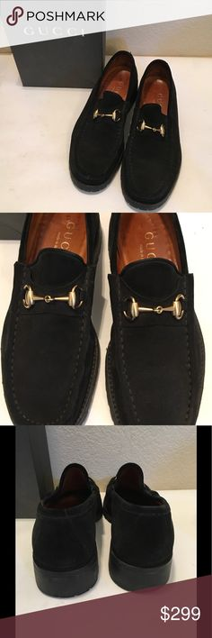 """GUCCI Suede NERO horse-bit loafer slip on BOX 8D Saks Fifth Ave. GUCCI men's NERO black slip on loafer driving shoe w/ horse bit. RUbberized tred on bottom non skid, 1"""" heel. SOles look Unworn... excellent condition worn a handful of times, well maintained comes w BOX if you choose. 👀🕉🍷🎀👣🎤 Gucci Shoes Loafers & Slip-Ons"""