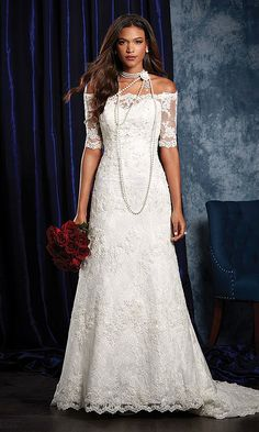Alfred Angelo Sapphire Bridal Collection Spring Delicate lace shapes the off-the-shoulder neckline and elbow length sleeves of this sophisticated bridal dress. The crystal, re-embroidered lace appliqué frame is elegance embodied.
