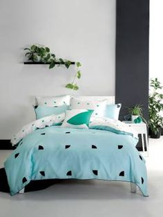 Illustrate your bedroom space with bright colour and minimalist geometry with the Quadrant Quilt Cover Set from Deco By Linen House. Aqua Quilt, Winter Bedroom, Quilt Cover Sets, Contemporary, Modern, Duvet Covers, Comforters, Blanket, House