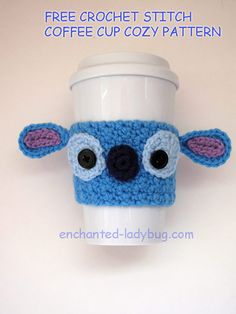 Free Crochet Stitch Coffee Cup cozy pattern by The Enchanted Ladybug