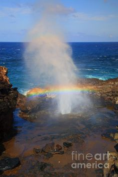 Nakeole Blowhole - Rainbow - Maui, Hawaii