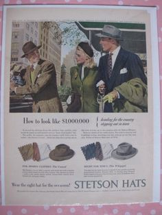 Stetson Hats Advertisement from 1947 Paper Ephemera by hiphuggie c6cdb28ec10d