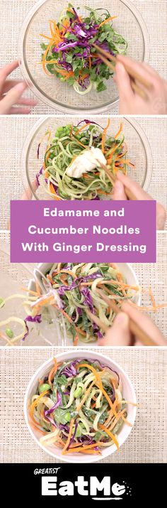 It's like a green salad but better. Edamame and cucumber noodles with ginger dressing
