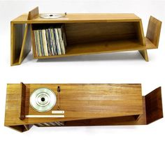 English furniture makerHugh Miller'sFolded Record Bureau is a play on both form and function, incorporating the features of a vintage 1985 Bang & Olufsen BeoGram 5000 turntable, complete with original controls, installed flush into a long record shelf with a fold for magazine storage at one end...
