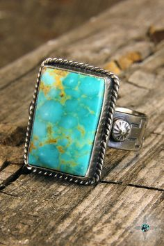 Beautiful Natural Turquoise Navajo Sterling Silver Ring by Bryan Sanchez - Turquoise Skies