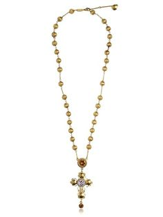 Small Cross Rosary Necklace - Lyst