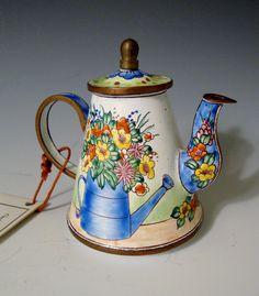 KELVIN CHEN Enamel Hand Painted Copper Mini Teapot # 1558