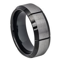 Mens Tungsten Ring Two-tone Brushed Center with Multiple Vertical Grooves & Black IP Beveled Edge, 8mm    SKU# TR675EL   Style: Fashion, Modern  Type: Tungsten Wedding Ring  Material: Tungsten Carbide  Color: Black, Gun Metal  Ring Width: 8mm  Sizes (US): 7, 7.5, 8, 8.5, 9, 9.5, 10, 10.5, 11, 11.5, 12    Package Includes:  1 x Ring (Without Gift Boxes)    Notice:  1.Due to the difference between different monitors, the picture may not reflect the actual color of the item. Please consider…