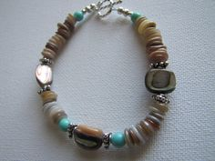 Delicate Sterling silver Turquoise  Abalone by LaStringTheory, $33.00