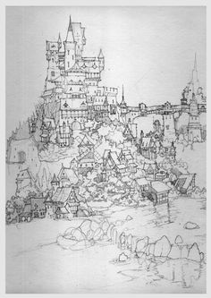Sketch Fantasy Town, Fantasy Castle, Medieval Fantasy, Landscape Drawings, Architecture Drawings, Art Drawings, Art Sketches, Landscapes, Town Drawing