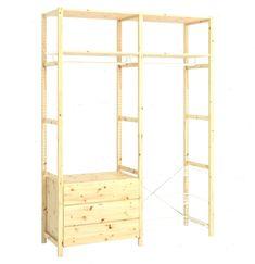 IVAR Shelving unit w shelves/rails/chest - IKEA - Best clothing rack ideas Ikea Shelves, Shelving, Improve Yourself, The Unit, Clothing, Diy, Furniture, Ideas, Home Decor