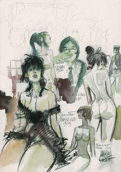 Hugo Pratt and women. Art And Illustration, Illustrations, Comic Book Artists, Comic Artist, Life Drawing, Figure Drawing, Maltese, Paolo Conte, Hugo Pratt
