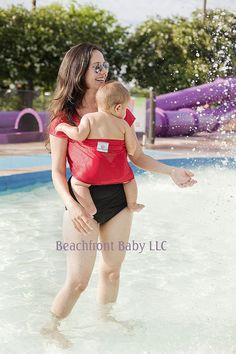 Beachfront Baby Wrap Carrier- water babywearing at the beach, pool, water park or in the shower- TROPICAL PUNCH Red on Etsy, 30,53€