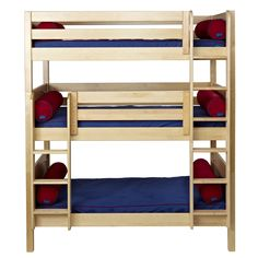 3 Popular Types of Triple Bunk Beds with Cool Features - Simple Design for Wooden Triple Bunk Beds with Blue Mattress and Red Pillows beside Oak Ladders