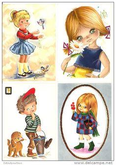 Lot de 12 cpsm illustrateurs divers (fille garçon oiseau fleur chien Evelyne Wavrant Krol Gallarda ( 1970 )