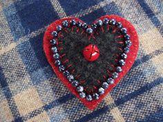 Valentine's Heart Brooch Felt Pin by rustiquecat on Etsy