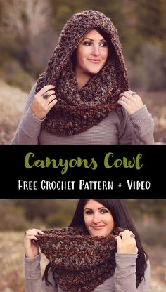 Canyons Cowl - Free Crochet Pattern and video by Julie King at Gleeful Things. Super chunky V-stitch cowl. Crochet Hooded Cowl, Hooded Scarf Pattern, Chunky Crochet Scarf, Crochet Hooded Scarf, Crochet Cowl Free Pattern, Crochet Beanie, Crochet Patterns, Crochet Cowls, Snood Pattern