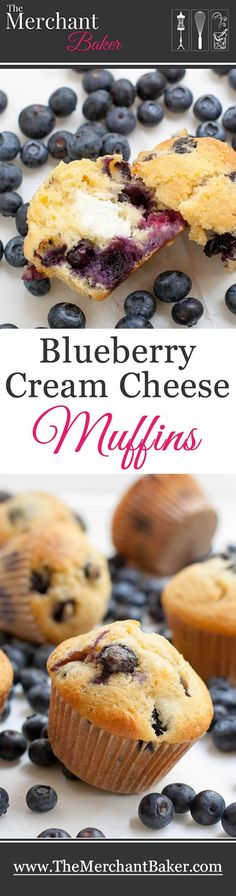 Blueberry Cream Cheese Muffins. Rich and tender muffins are chock full of fresh blueberries and have a cream cheese surprise inside! This is a great master muffin recipe for all kinds of add ins!