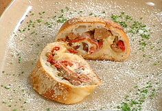 Stromboli Recipe : Emeril Lagasse : Pizza/Bread dough, salami, sausage etc. Dip in marinara Stromboli Recipe, Calzone, Chili, Sandwiches, Pasta, Thing 1, Bologna, Food Network Recipes, Cooking