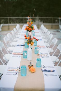 Teal and orange table decorations