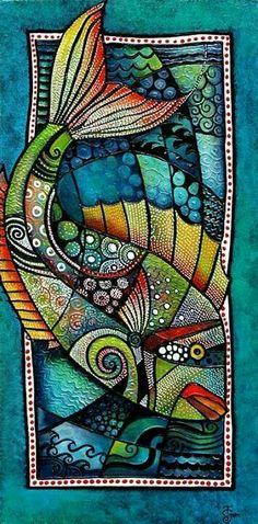 Tanya McCabe's textile art work Make white dots with white gelly roll pen Dot Painting, Silk Painting, Art Maori, Kunst Der Aborigines, Wal Art, Posca Art, Drawn Art, Inspiration Art, Arte Popular