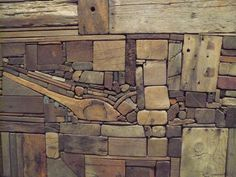 Someday I would love to have a piece of artwork that is all different samples of wood. Wooden Art, Wood Wall Art, Art Sculpture, Sculptures, Wood Mosaic, Wood Creations, Assemblage Art, Driftwood Art, Wood Design