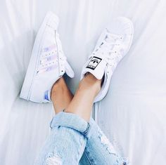 weekend worthy adidas and ripped boyfriend jeans