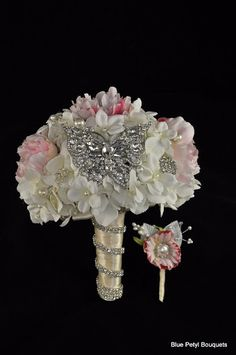 Custom Crystal Butterfly and boutonniere:) #brooch #bouquet