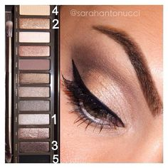 #tbt! Super quick/easy naked 2 palette look I did a few weeks ago. 1.) inner lid. 2.) middle lid. 3.) crease. 4.) brow bone. 5.) lower lash line. Apply liner & mascara and you're good to go