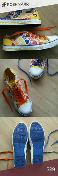 Harajuku Lovers Heart Sneakers 11 Adorable pre-loved Harajuku Lovers Sneakers with heart print! Love!!! Combine with the perfect matching purse available at @lalalala4! Bundle & Save! :) Harajuku Lovers Shoes Sneakers