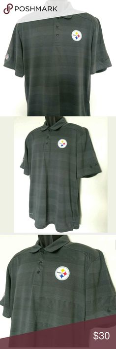 """Nike Pittsburgh Steelers On Field Polo Shirt Me You are buying: Nike Pittsburgh Steelers On Field Polo Shirt Men's   Size: Medium Legnth: 29"""" (laying flat) Pit to pit: 21"""" (laying flat) Sleeve legnth: 11"""" (laying flat)  From a smoke free pet free home Nike Shirts Polos"""