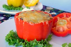 Good source of protein-Black beans stuffed in red bell pepper.