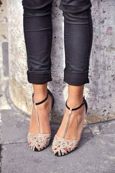 beautiful shoes/with jeans shorts or a dress
