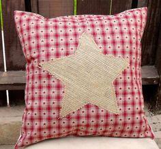 Rustic Homespun Christmas Burlap Star Pillow by SummeryCreations, $22.00