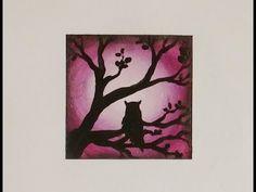 "Mini Art - 3"" x 3"" Silhouette Painting - Owl at Dawn - YouTube"