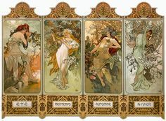 Nouveau Four Seasonss by Alphonse Mucha Fine Art Print