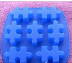 Cake Mold Mould Soap Mold Silicone Mold Flexible Mold 7-holes Puzzle Jigsaw Cake. $4.50, via Etsy.