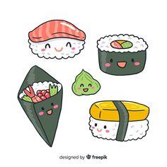 Cute Food Drawings, Cute Animal Drawings Kawaii, Doodle Drawings, Easy Drawings, Food Drawing Easy, Arte Do Sushi, Sushi Art, Arte Do Kawaii, Kawaii Art