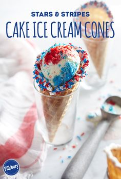 Enjoy the delicious flavors of ice cream and cake this summer! These unmistakably yummy Stars & Stripes®️️️️ cake and ice cream cones are a delicious dessert that'll have your party guests craving red, white and blue treats. Bake, mix, freeze and enjoy.