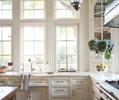 Eclectic Island Style Light Blue kitchen, white cabinets, McKee Patterson, AIA,