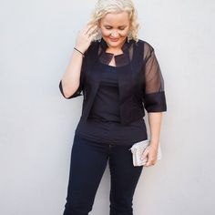 Living Silk Organza Jacket, Intimo everyday smoothing top, Rockmans Indigo Jeans styled by Kirsten and co www.kirstenandco.com