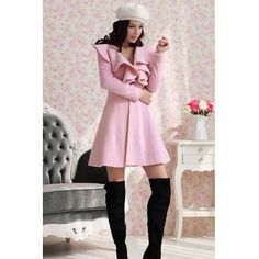 $20.49New Style V Neck Long Sleeve Single Breasted Long Pink Coat