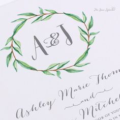 Printable Wedding Invitation - Watercolor Monogram Wreath with Calligraphy