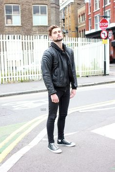 Leather Jacket with Skinny Jeans. angel monroy · Converse style men cff741253