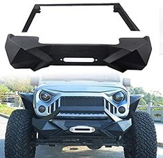Amazon.com: MAIKER Front Bumper w/Winch Plate for 2007-2017 Jeep Wrangler JK, Black: Automotive