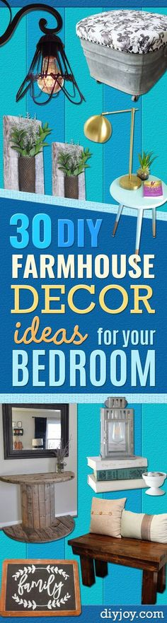 DIY Farmhouse Style Decor Ideas for the Bedroom - Rustic Farm House Ideas for Furniture, Paint Colors, Farm House Decoration for Home Decor in The Bedroom - Wall Art, Rugs, Nightstands, Lights and Room Accessories http://diyjoy.com/diy-farmhouse-decor-bedroom