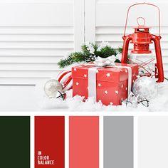 color verde abeto, colores del Año Nuevo, colores navideños, elección del color, escarlata, gris, paleta de colores navideños, paleta de colores para la Navidad, rojo, selección de colores para el Año Nuevo, selección de la combinación de colores para el Año Nuevo, tonos grises, tonos rojos,