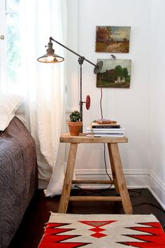 7 genius things to use as a bedside table | distressed chair and